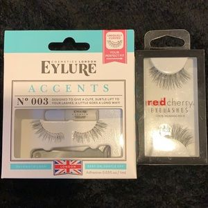 False eyelashes (EYLURE accents & RED CHEERY)